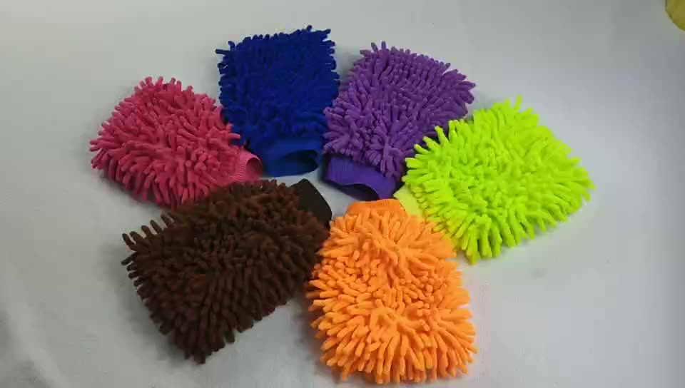 High quality, efficient and fast car washing gloves with microfiber Chenille Multi-purpose cleaning gloves