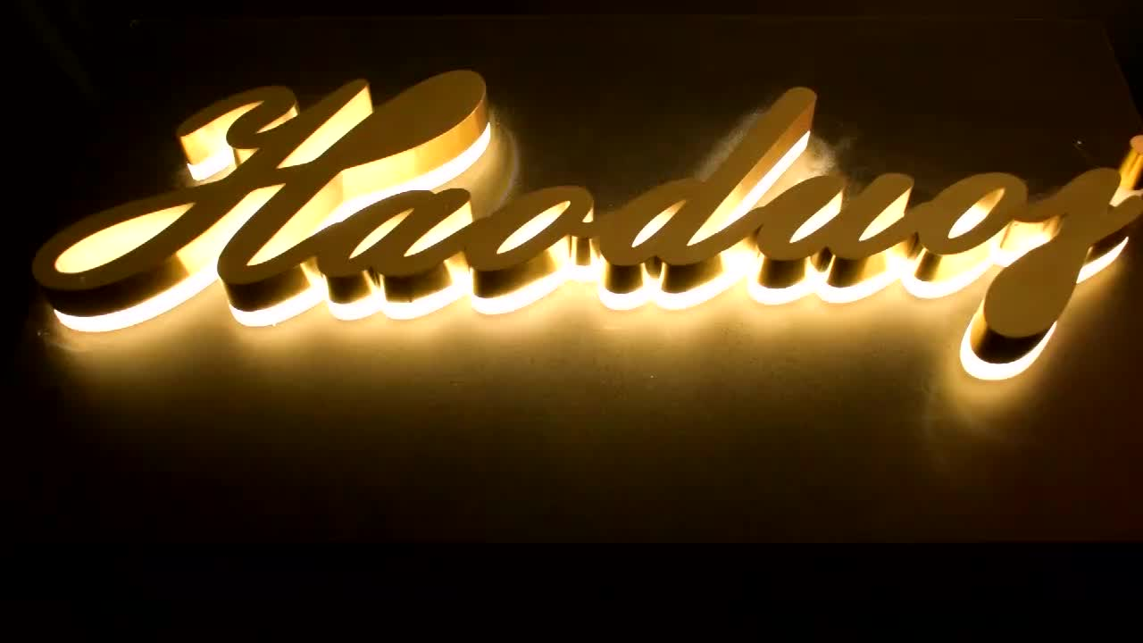 Titanium Brushed Stainless Steel Backlit Word Sign Led