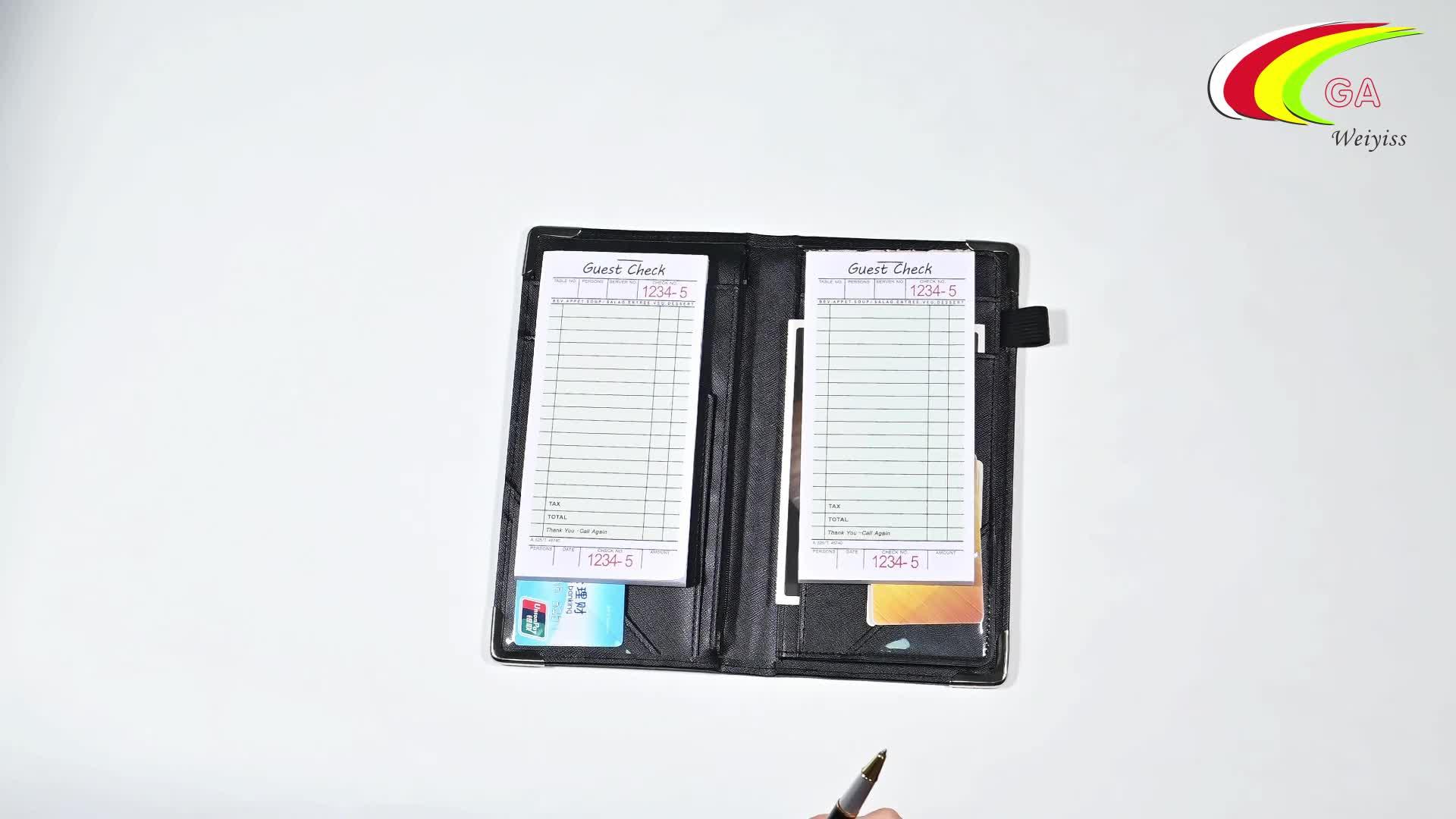 Wholesale Muti-Function Black Custom Logo Restaurant Leather Bill Holder Folder With Pen Holder
