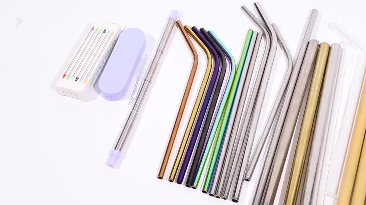 Wholesale 304 Stainless Steel Flexible Telescopic Drinking Straw with Cleaning Brush