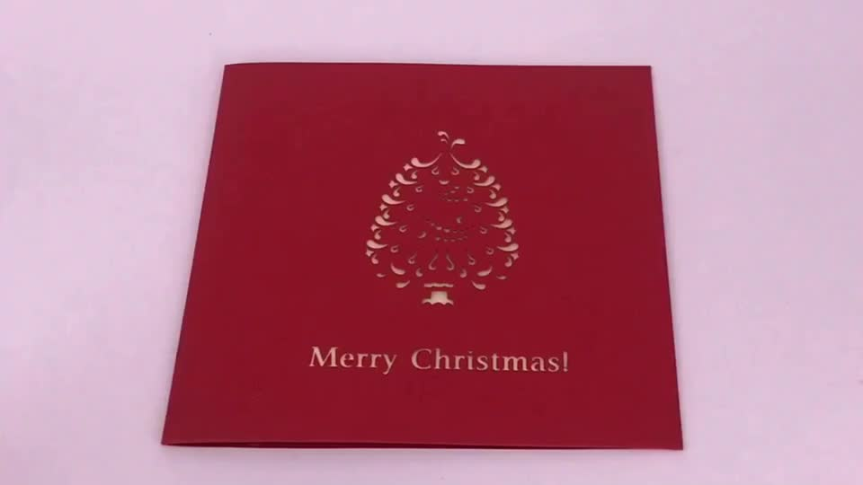 Holiday season origami paper pop up christmas card