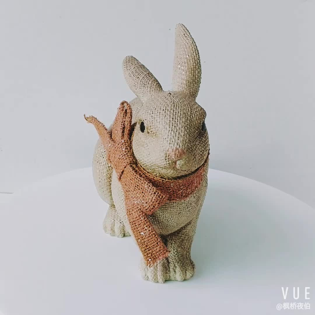 Tabletop Decoration Polyresin Linen Rabbit Statue with Bow Spring Decoration Resin Bunny Figurine