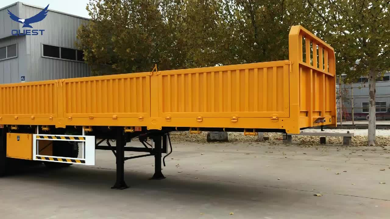QUEST 4 trục 80ton 40 ft 45ft phẳng giường phẳng container trailer bán sử dụng xe tải trailer cho Ghana