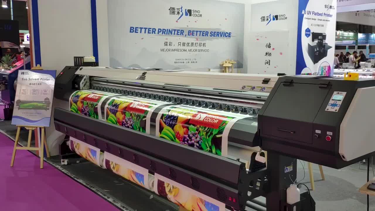 Çin SinoColor 3.2m 10 Feet DX5 DX8 baskı kafaları 1440dpi tuval katlanabilir pankart branda geniş formatlı eko Solvent yazıcı fiyatı