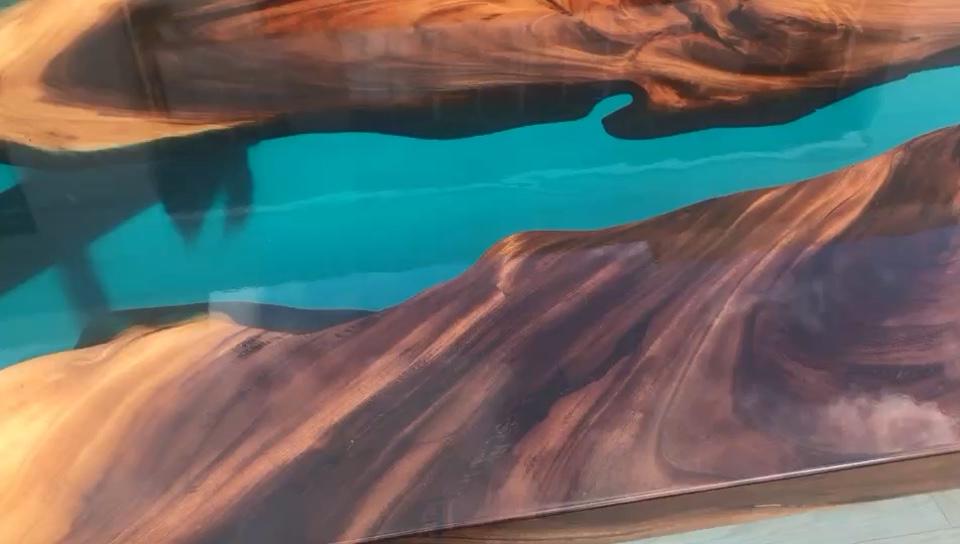 Blau wasser harz fluss holz insel arbeit bar küche tisch