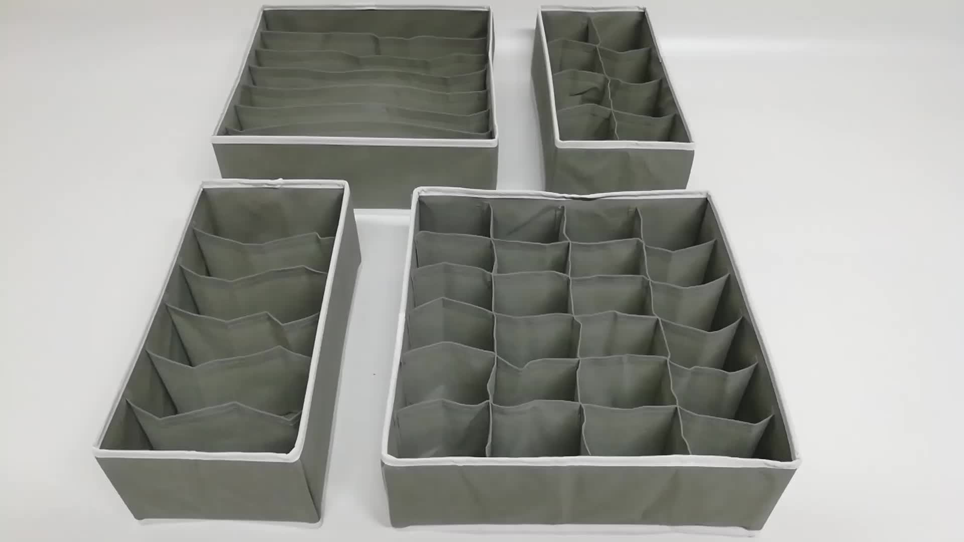 4 เซ็ตในบ้านตู้เสื้อผ้าลิ้นชัก D Ivider สีเทาชุดชั้นในการจัดเก็บชุดชั้นในออแกไนเซอร์จัดเก็บ