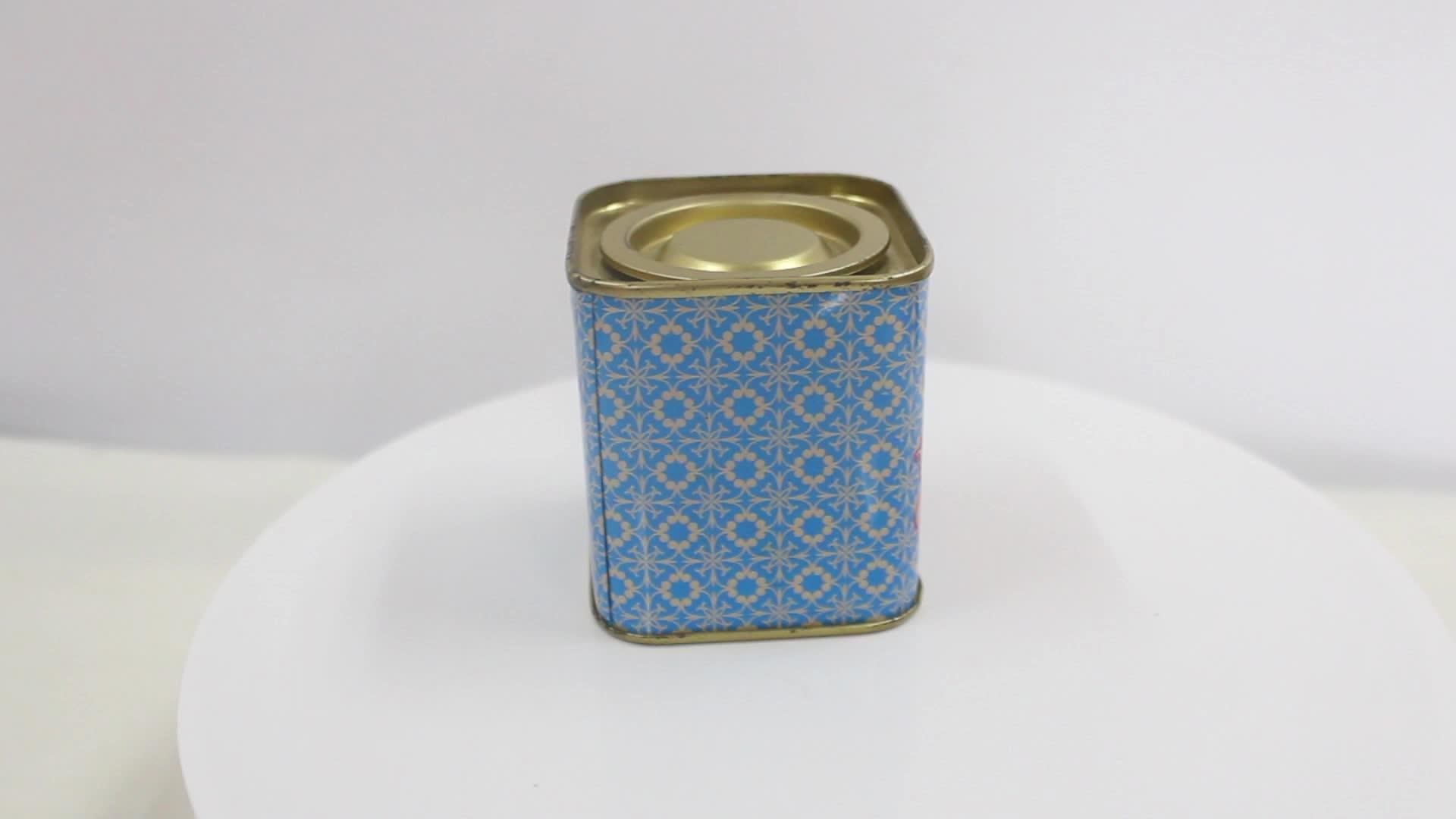 Square Airtight Metal Tea Tin Can Small Tin Box For Loose Tea