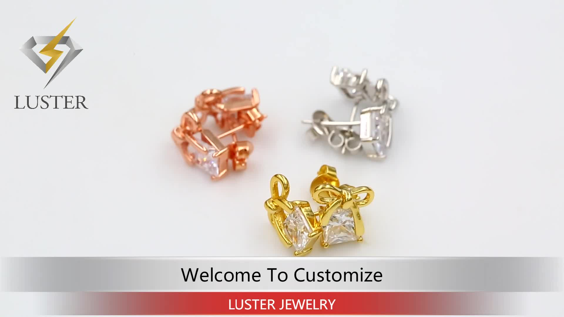 Rose gold plated jewelry square cubic zirconia copper baby statement stud earrings, fill your jewelry box