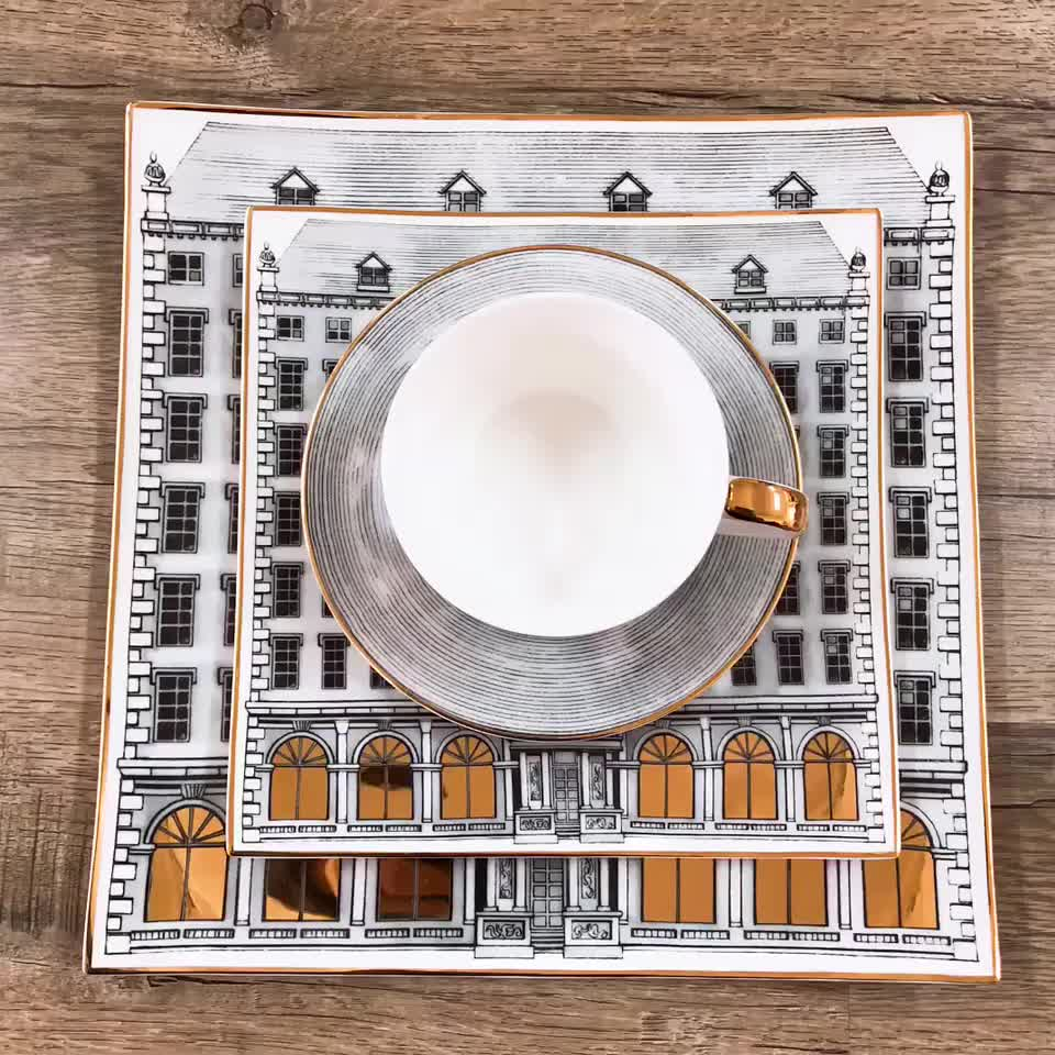 Grey castle coffee mug hand paint gold rim cup sets espresso cup and saucer Phnom Penh Cup and Dish of Urban Architecture