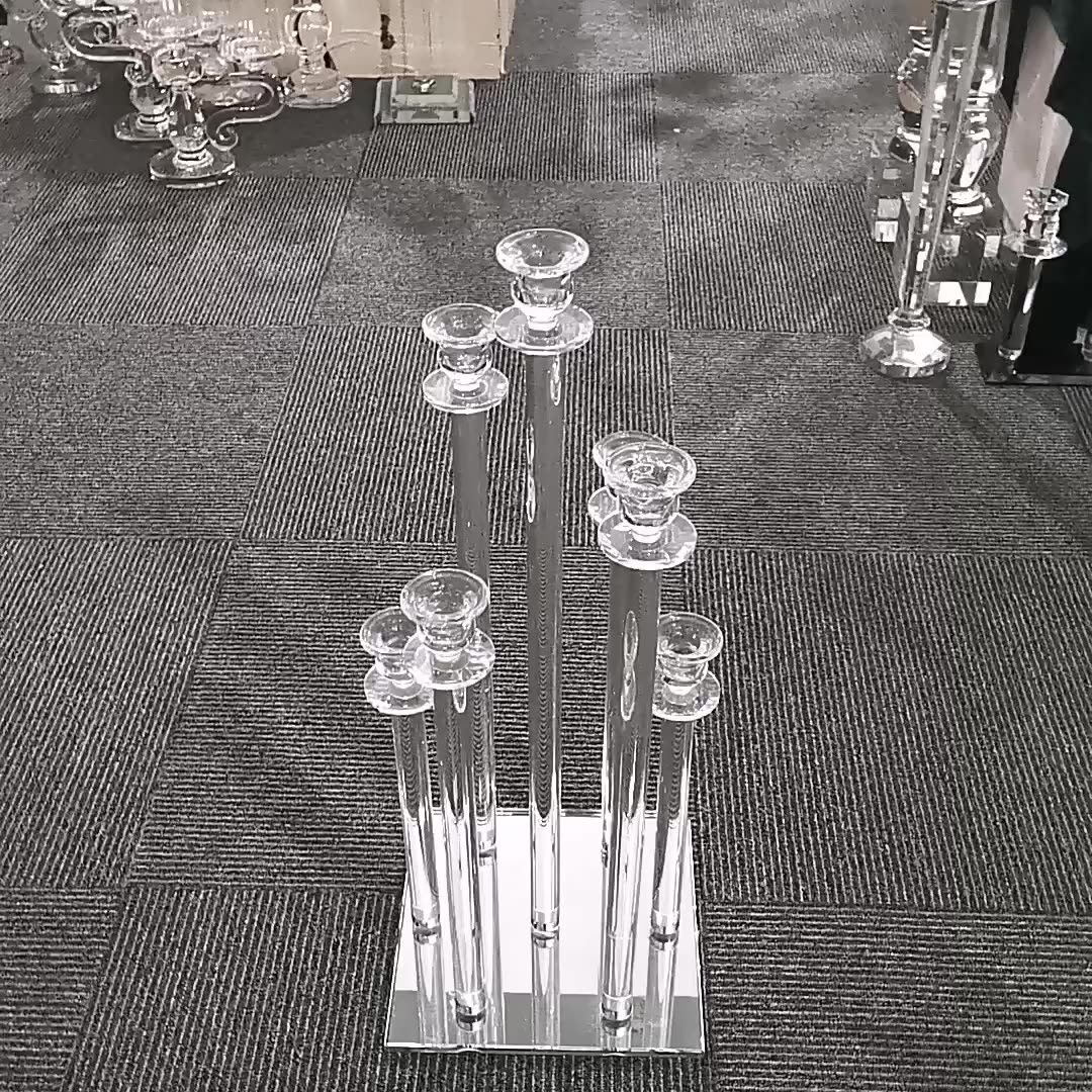 Wholesale Wedding Decoration 7 Arm Centerpieces Pillars Glass Cylinder Crystal Candle Holders with tall cheap candelabra