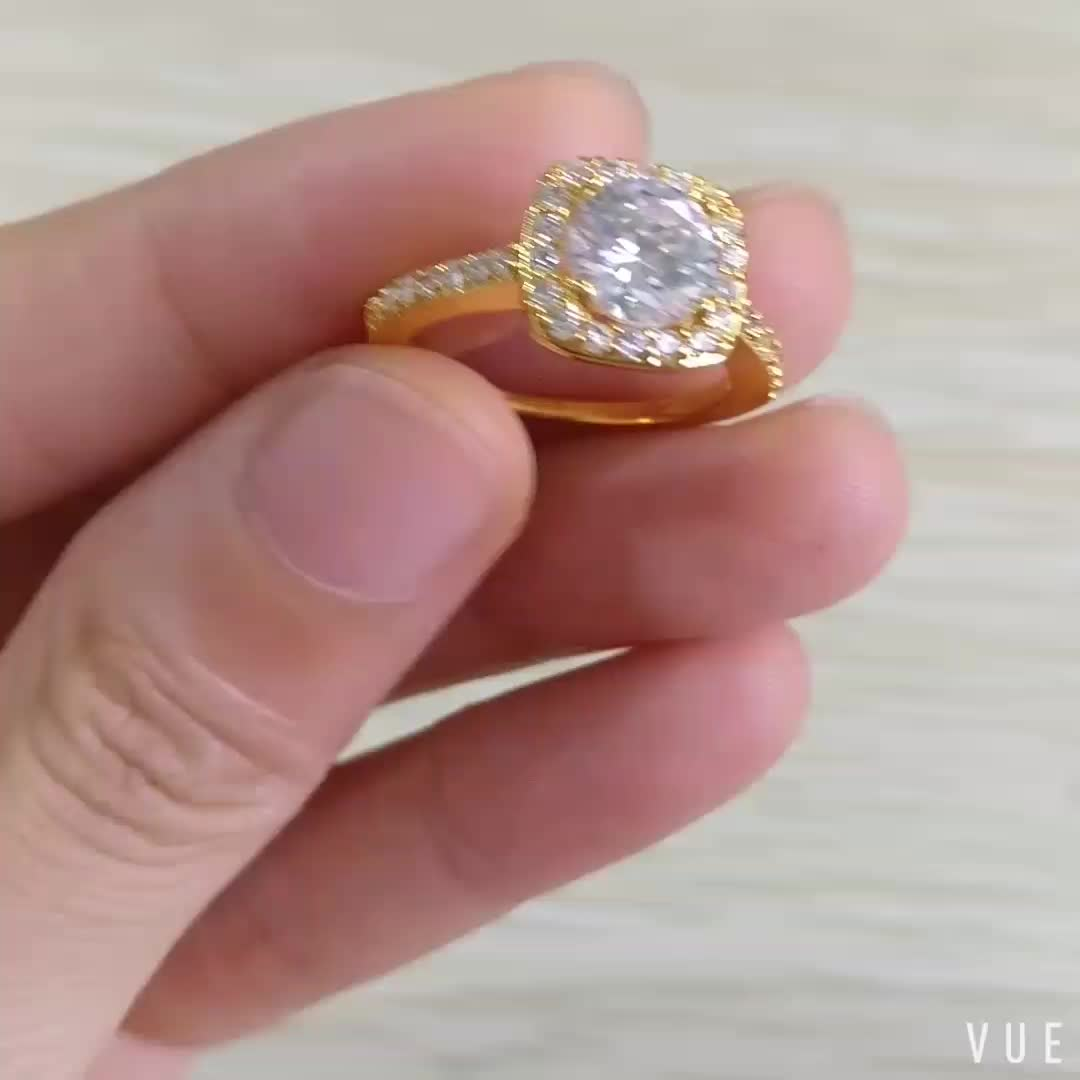 Zircon Thin 18k Gold Plated Ring Round Wedding Engagement Ring with Diamonds For Women