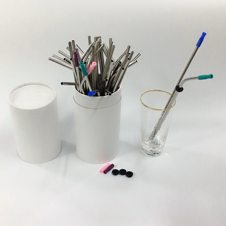 Food Grade Stainless Steel Straw Set with Silicone Tip and Silencer