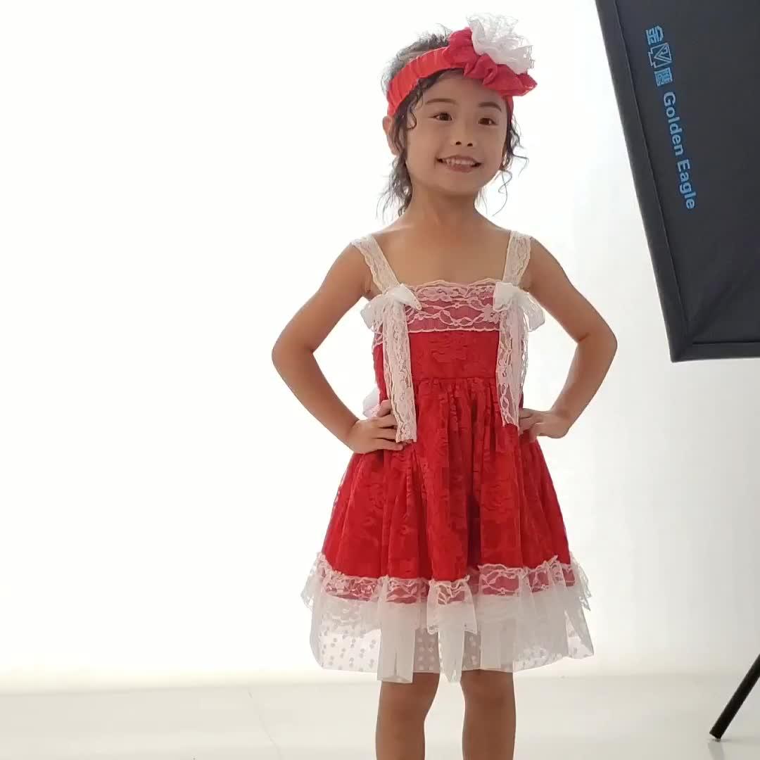 レースの花のドレスと帽子と弓子供ノースリーブ夏の服レッド女ドレス