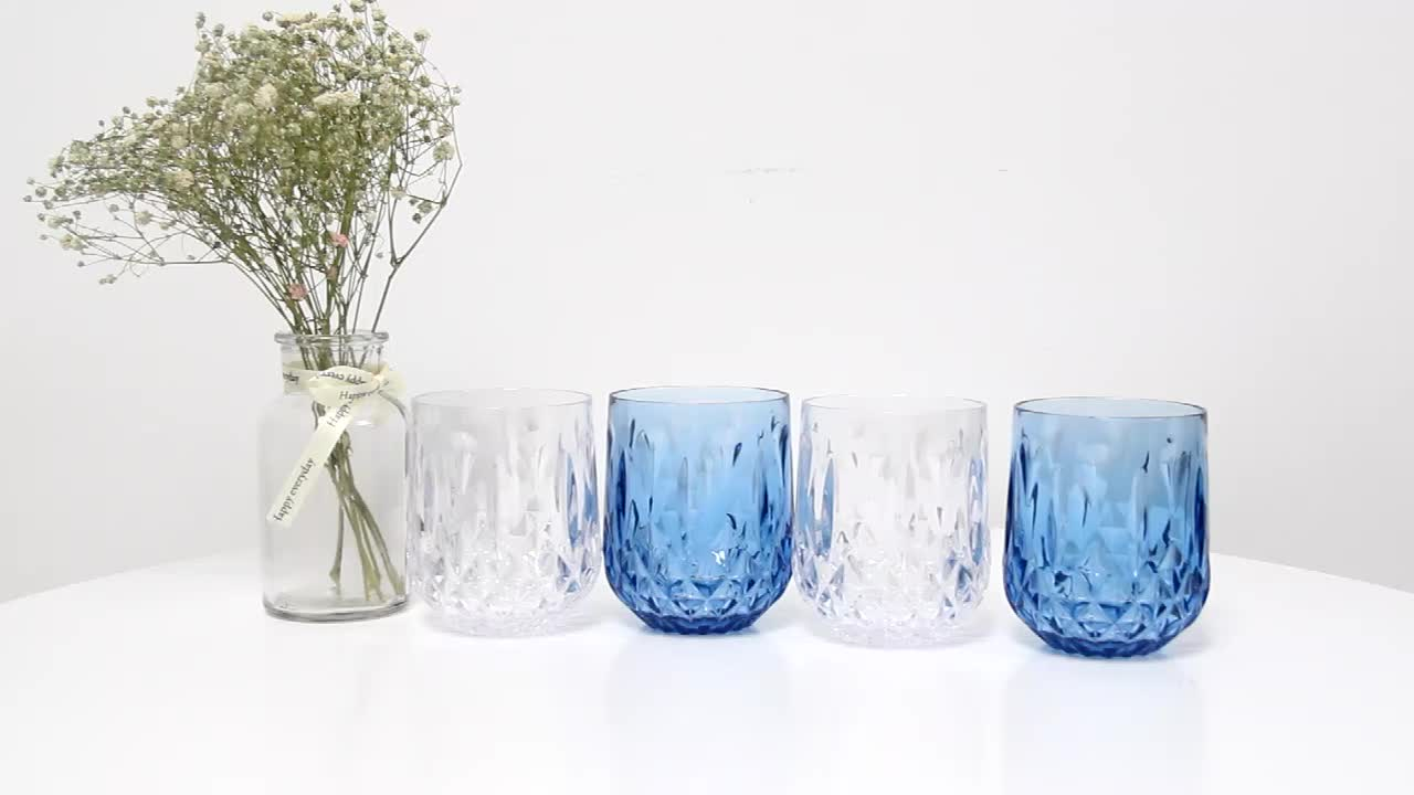 High quality unbreakable colored polycarbonate drinkware acrylic juice wine glasses plastic cup