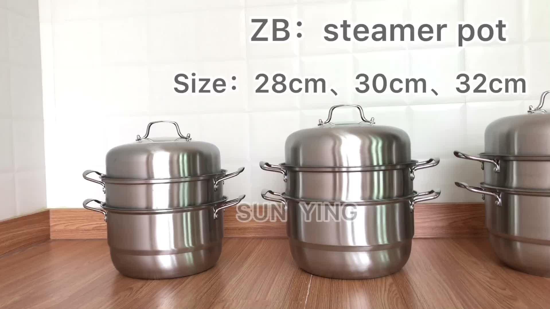 Edelstahl dampfer topf 28CM 2 oder 3 Schichten Lebensmittel Dampfer Kochtopf kochgeschirr sets kommerziellen dim sum dampfer mit Griffe