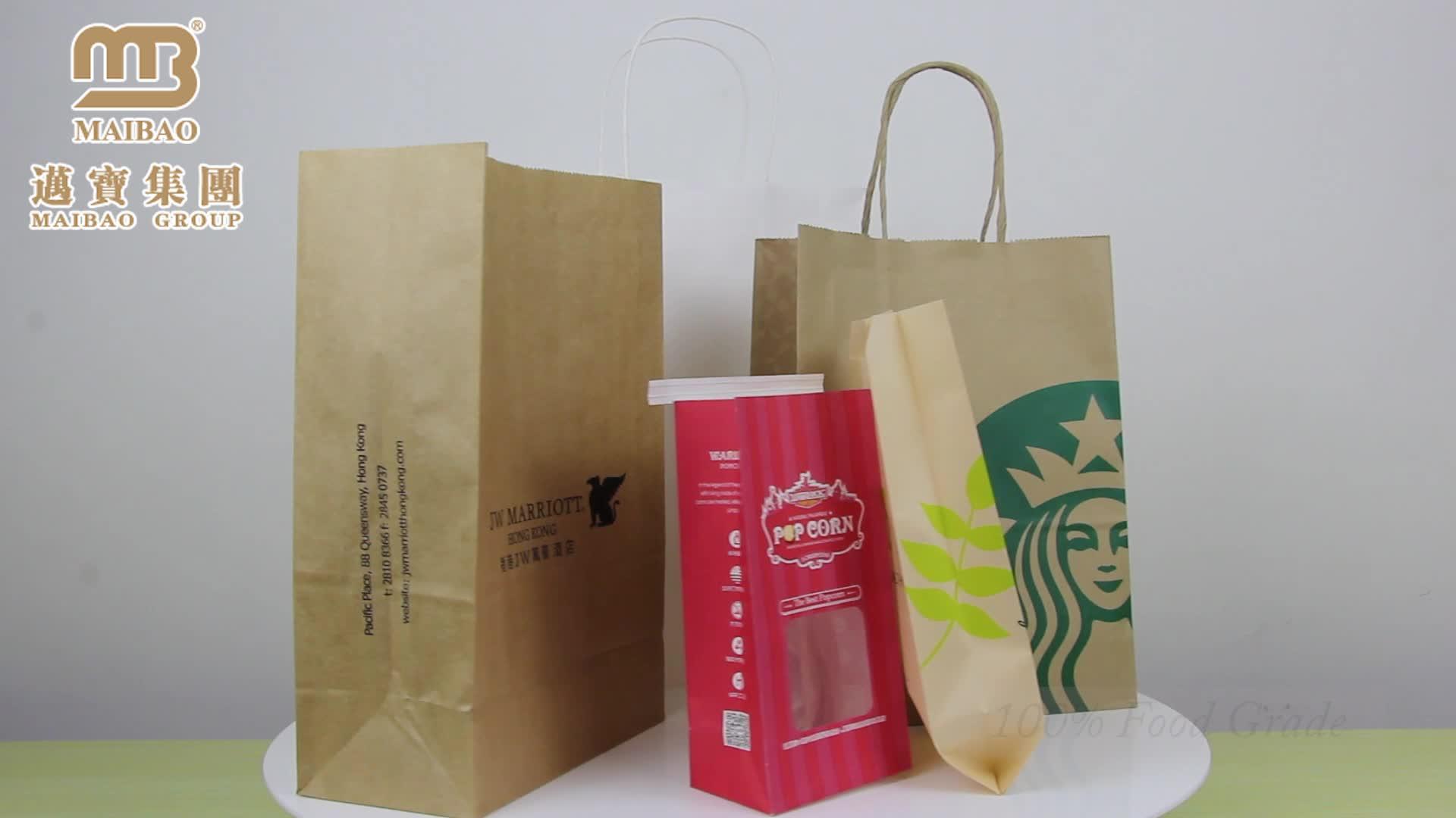 Custom Made saco de Papel Kraft Saco de Papel de Embalagem Saco de Pão Francês Com Janela Para O Alimento Da Embalagem