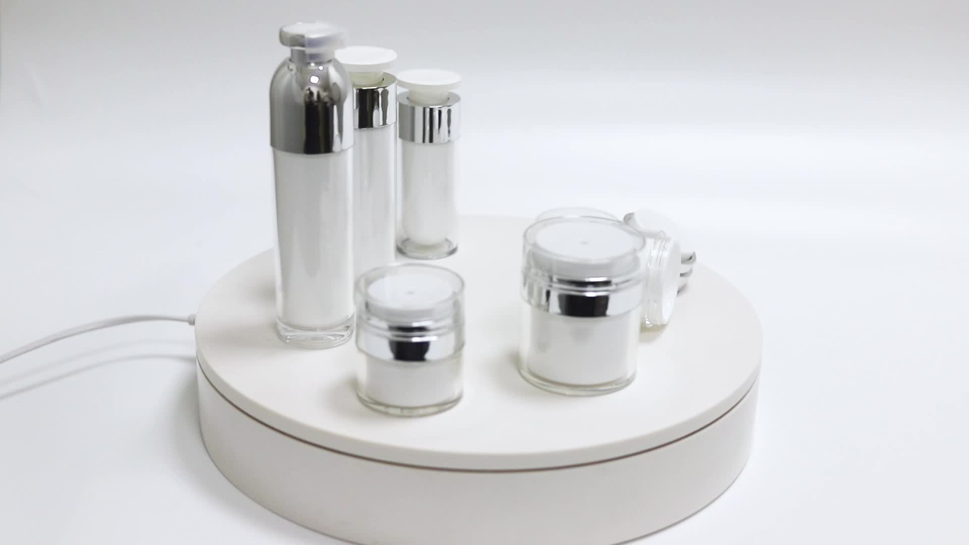 Hot sale Cylinder Plastic Acrylic Airless Lotion Bottles with Pump Face Cream Jars