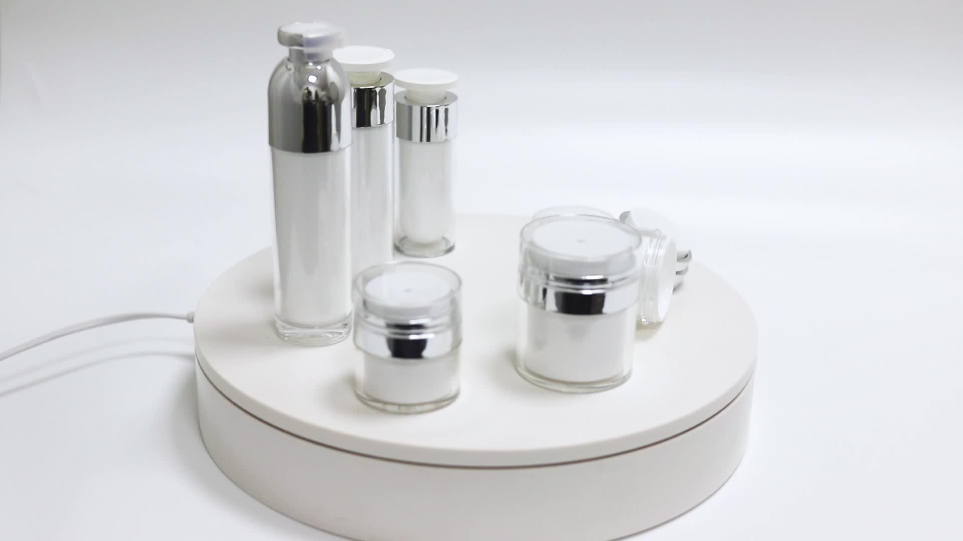 ホット販売シリンダープラスチックアクリルエアレスローションボトルボトルとポンプ顔クリーム瓶
