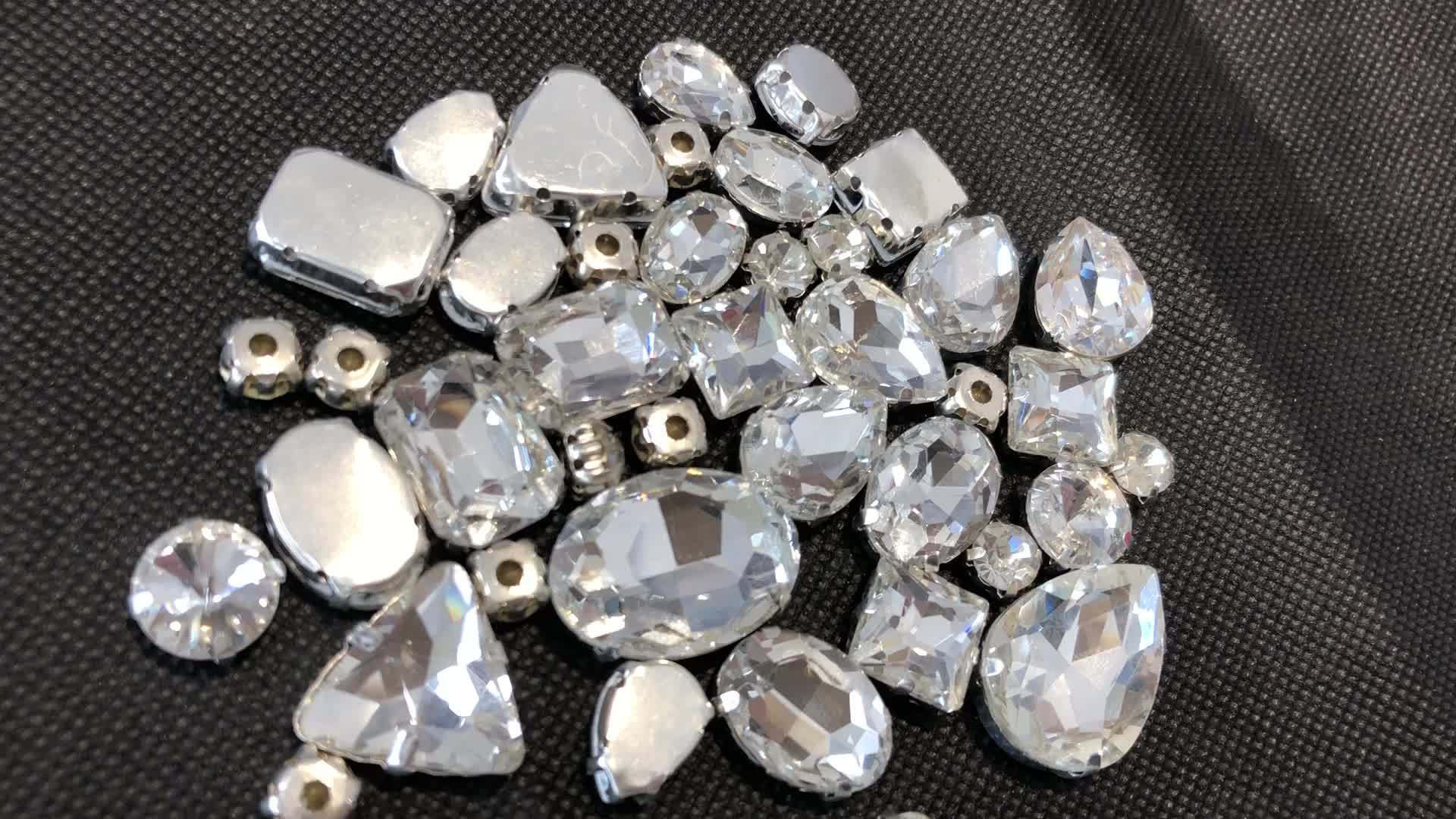 Wholesale Point Back Fancy Round 13x18mm Oval Diamond Rhinestone with Silver Flat Back Claw Glass Sew on Rhinestones for Clothes