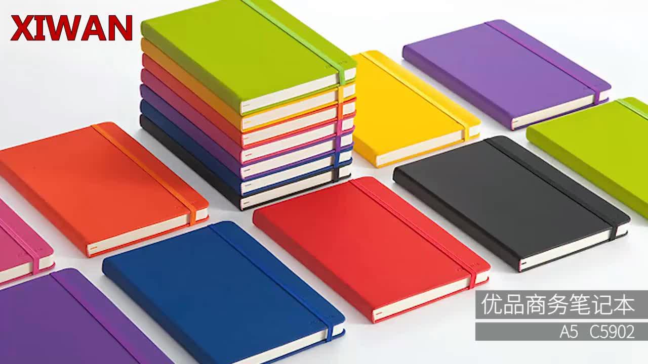 Custom afdrukken A5 elastische bandage lederen notebook met emboss logo school notepad