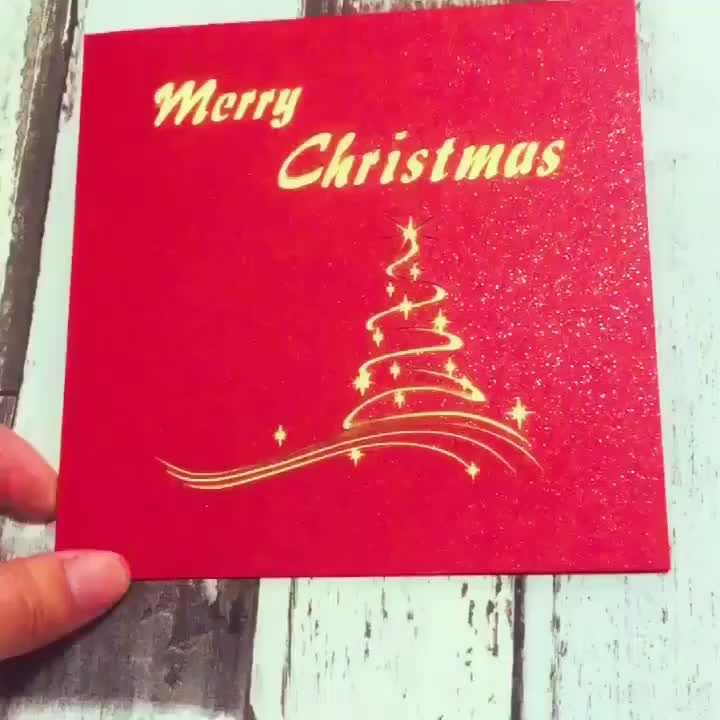 Custom Printed Laser Cut Christmas Tree 3D Paper Pop up Christmas Cards for Greeting with Envelopes
