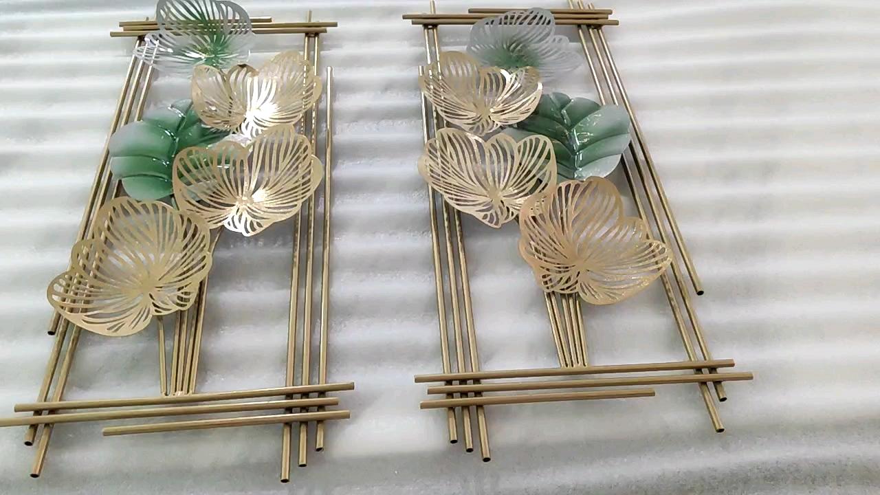 Folhas de ouro de Luxo sala de visitas Home Cafe Retângulo de Metal Decoração Da Parede de Suspensão