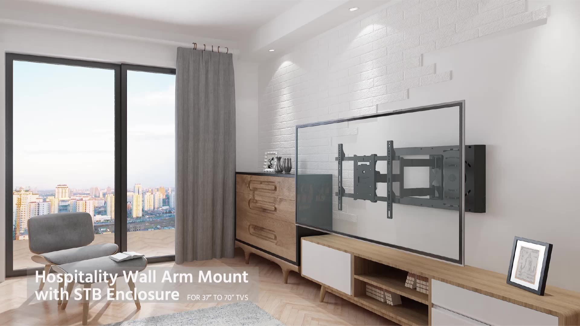 Included Set Top Box Enclosure Full Motion TV Mount Wall Bracket With Single Arm