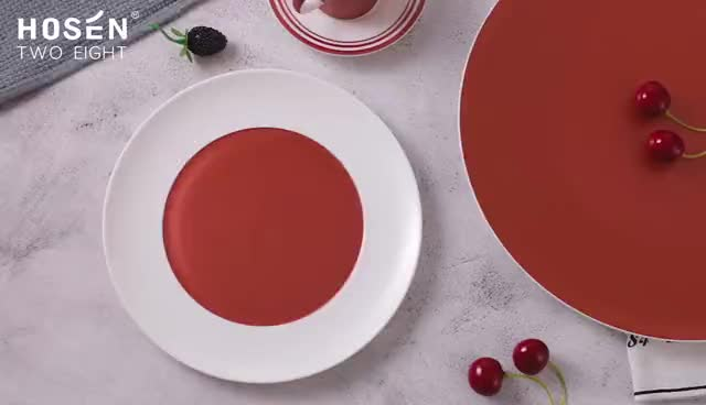 Hotel Restaurant Supplier, Ceramic Bone China Dinner Plate, Hotel Restaurant Red Luxury Plate Set