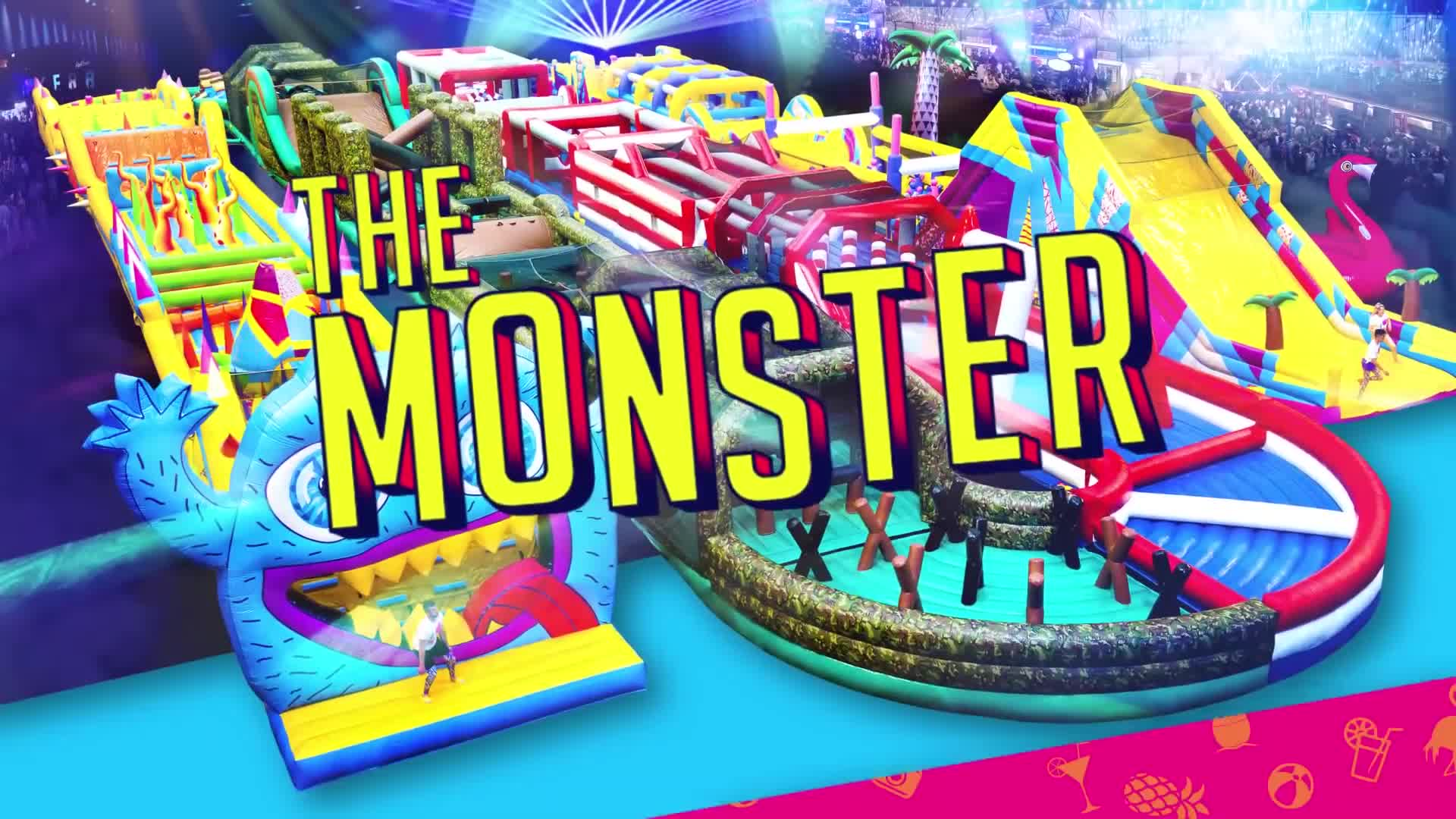Customer design UK inflatable monster obstacles