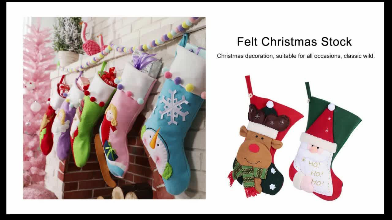 Hot christmas home party felt decoration stocking