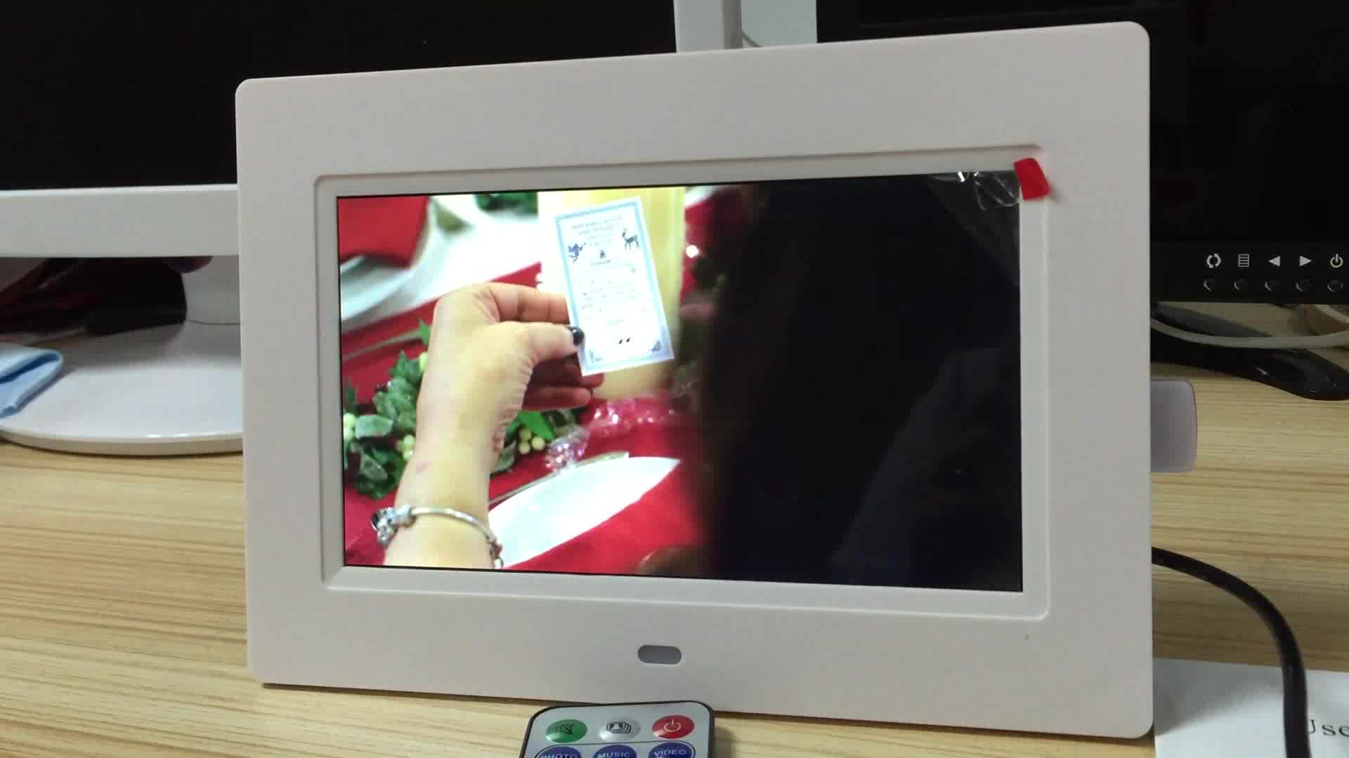 Wall mounted video ad play digital photo frame 7 LED inch download free mp3 mp4