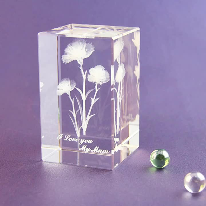 wholesale customized 3D laser engraved Carnation K9 clear crystal block cube