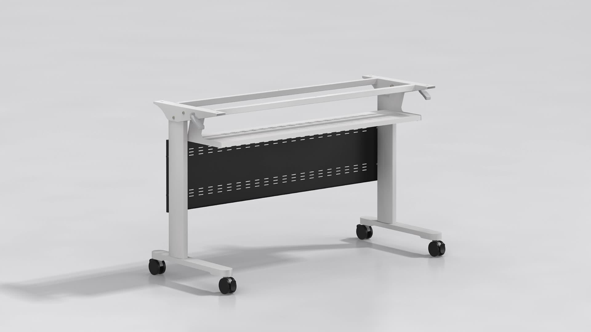 Modern Design Folding Desk Movable Conference Room Training Table Desk With Wheels