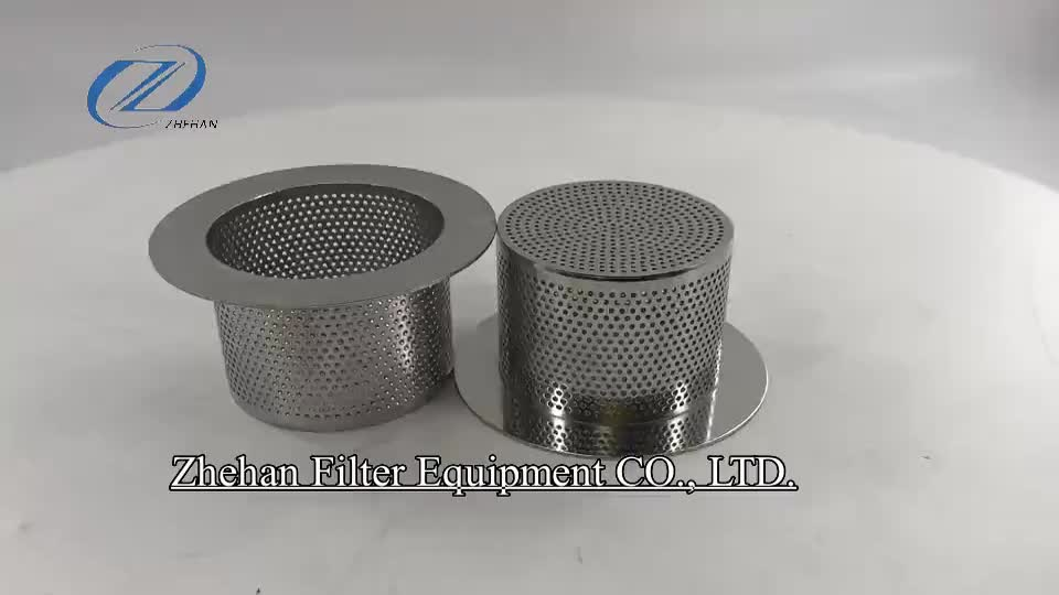 backwater pipeline cooling tower water filter Stainless steel punching/perforated wire mesh filter cartridge for power plant