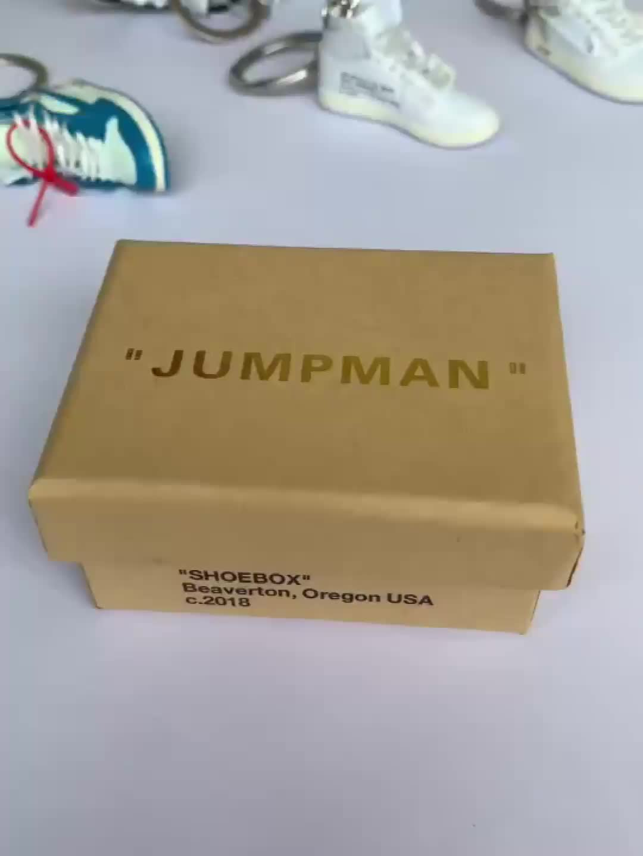 Air Jordan 1 Retro Hoge Og Chicago Off White 3d Mini Schoenen Sleutelhangers Met Mini Doos