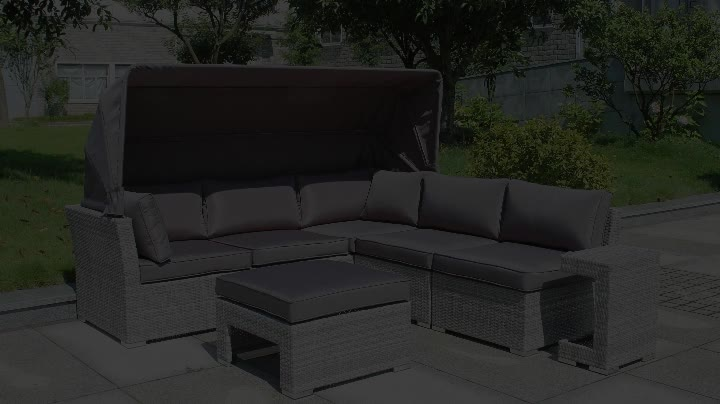 Hot selling garden furniture germany outdoor sectional wicker sofa set canopy