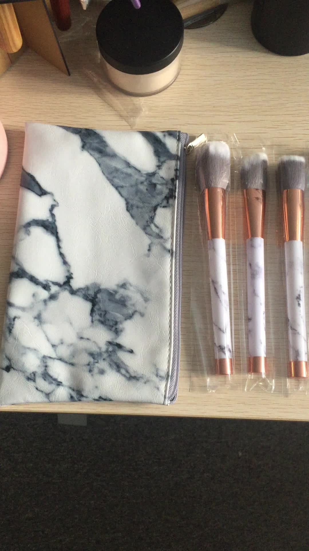 New Hottest makeup tool kits 11pcs Marble handle grey synthetic hair makeup brush set with fan brush
