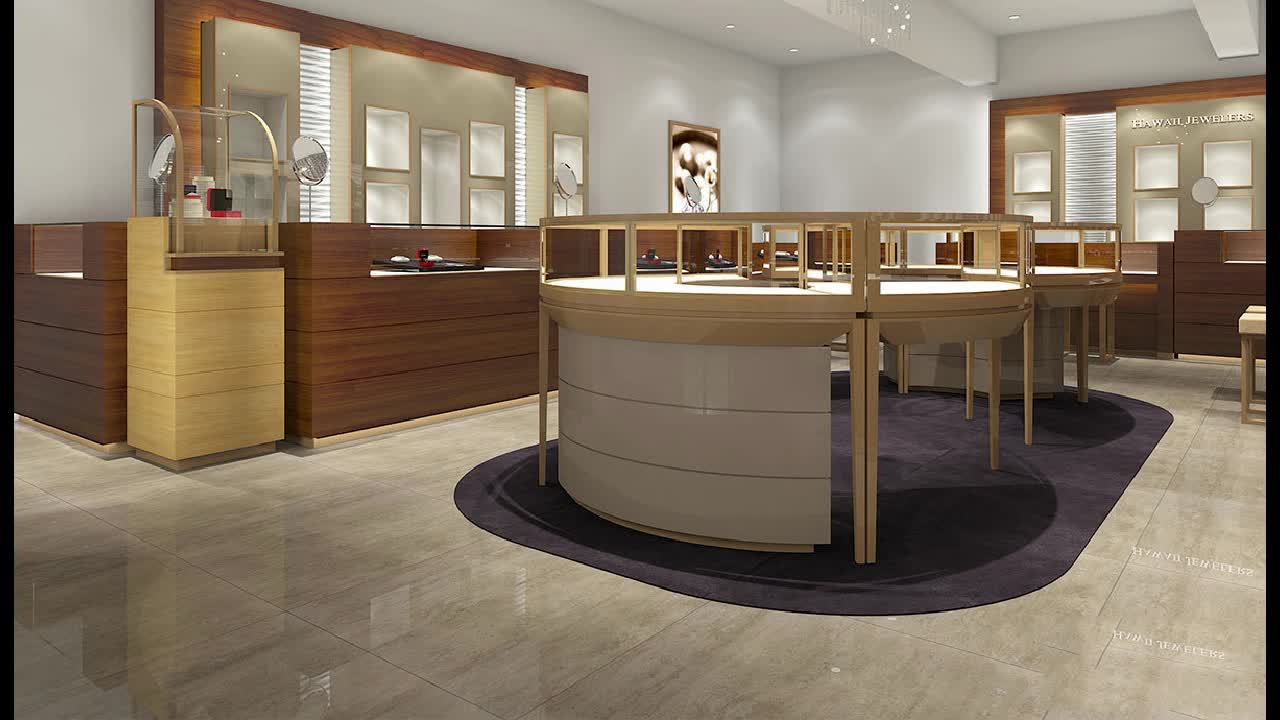 Gold Stainless steel  jewelry display showcase and used Jewellery display cabinet  and watch display counter