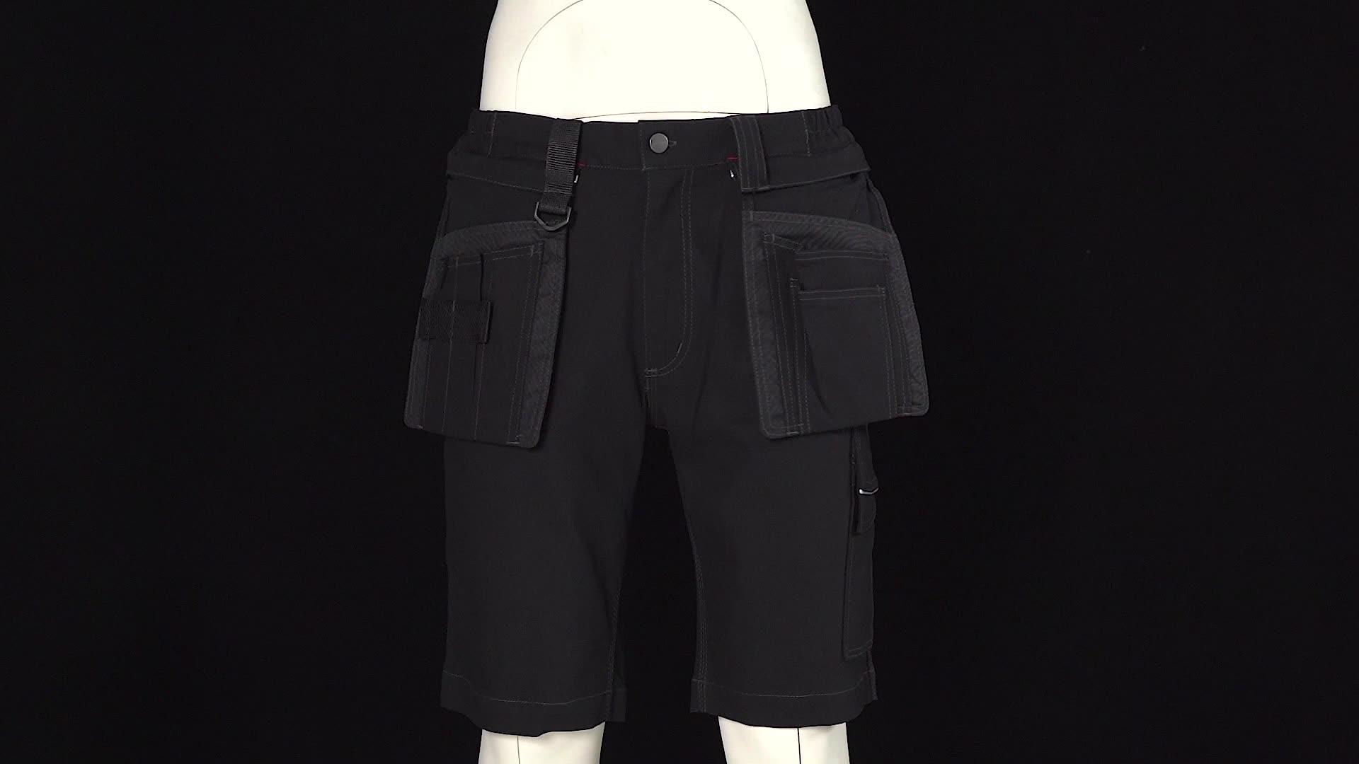 לנשימה קל משקל Mens מכנסיים קצרים מטען קצר עבודה מכנסיים גברים Workwear מקרית מכנסי עבודת עם 8 כיסים