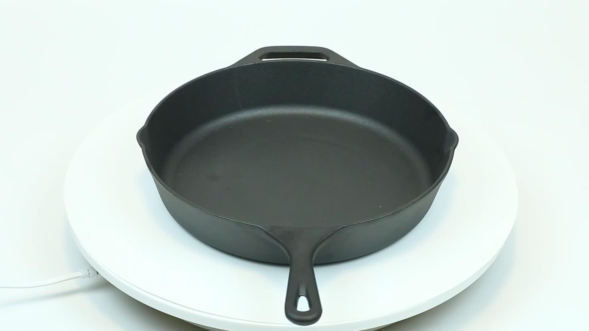Rendah Harga Bentuk Bulat Cast Iron Pan dengan Handle untuk Paella