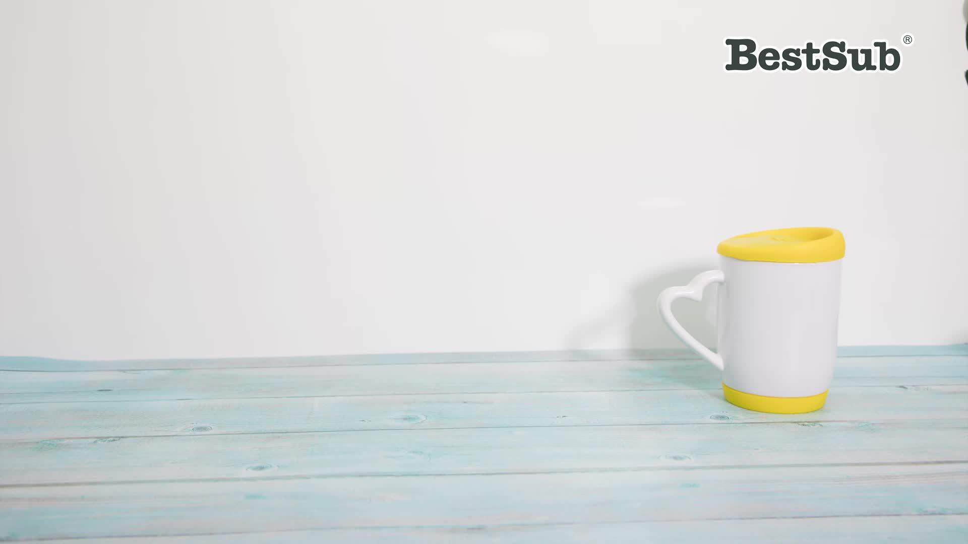 BestSub Kişiselleştirilmiş Toptan Sublime boşlukları 12 oz 360 ml Seramik Kahve Kupa Silikon kapaklı ve Taban Siyah B5XH-K