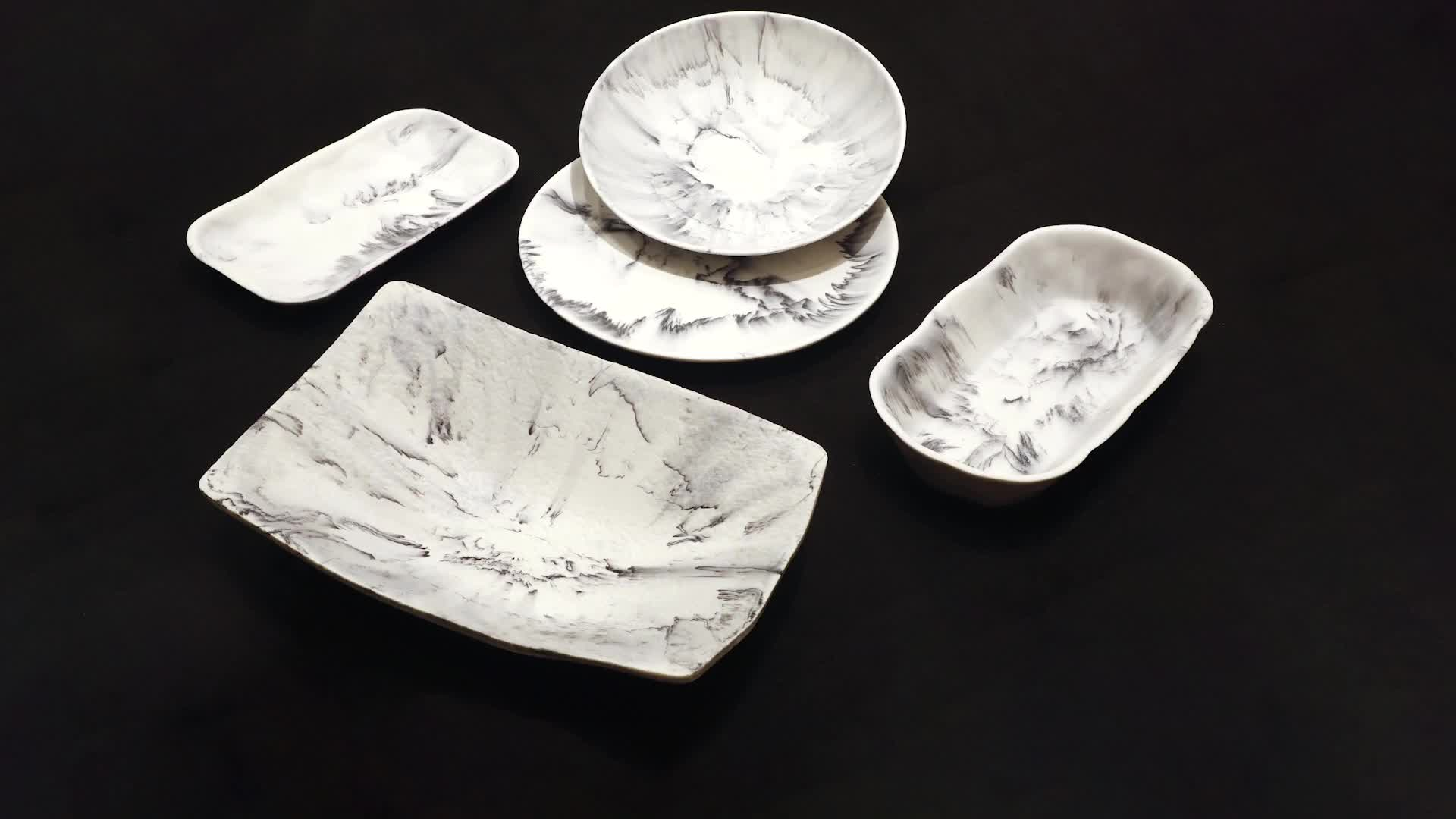 Customized Restaurant Decorative Wholesale Gray White Resin Dry Fruit Buffet Food Plates and Bowls