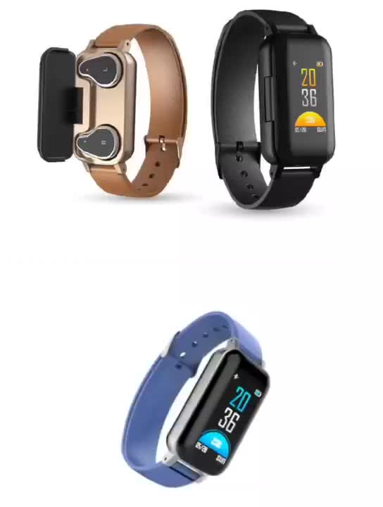 newest tws wireless earphone and Sports Fitness Activity Heart Rate Tracker Blood Pressure  smartWatch