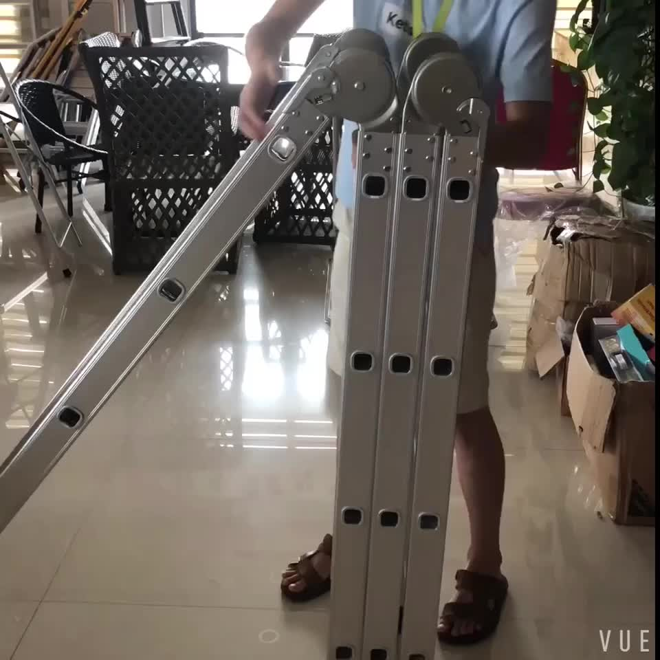 Two Sides Folding Multi-purpose Aluminum Step Ladder With Joint
