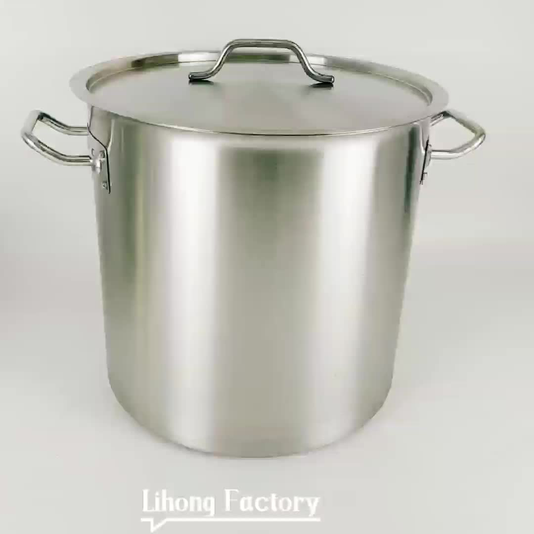 Heavy Duty Nickel Free Stainless Steel Non Toxic Cookware Stockpot 100 Quart/113L Large Commercial Grade Stock Pots
