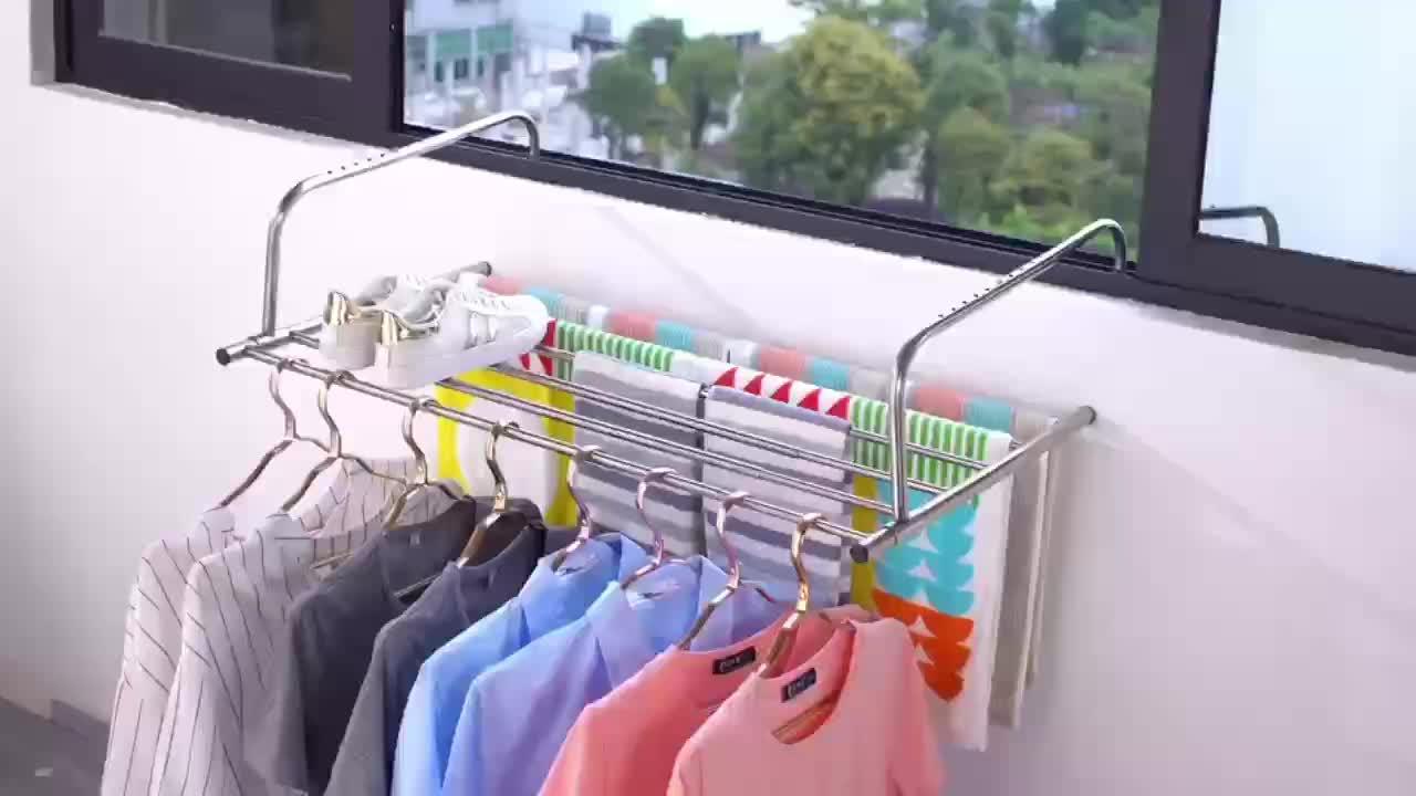 68-120cm स्टेनलेस स्टील दूरबीन बालकनी खिड़की दूरबीन foldable कपड़े सुखाने कपड़े धोने रैक शुष्क रैक