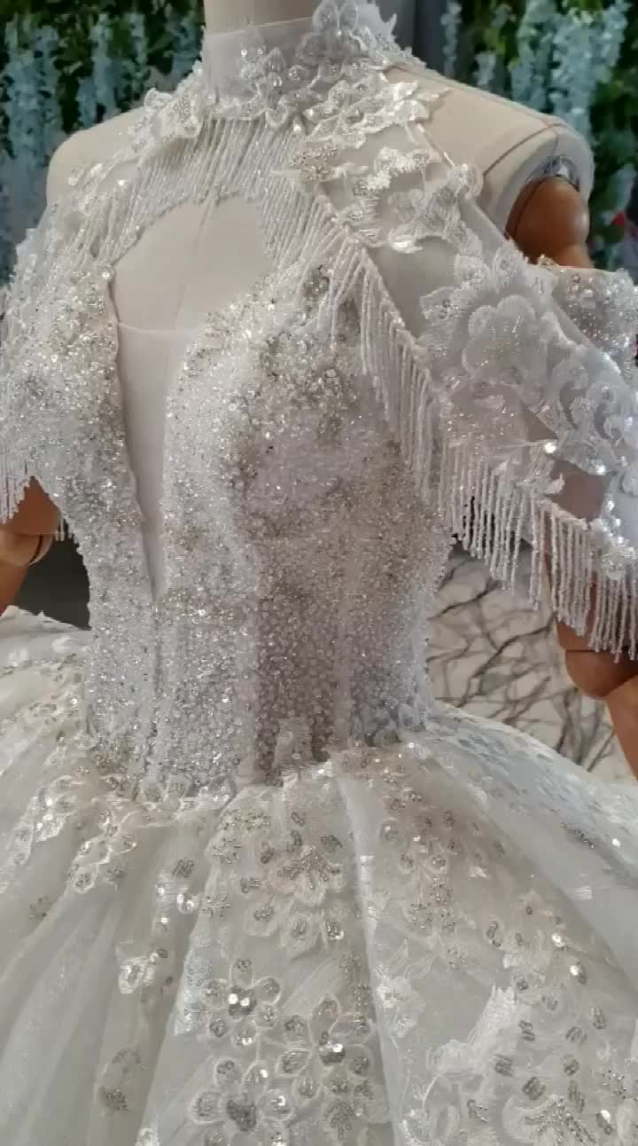 HTL806 Jancember wedding dress bridal gowns ball gown hand made dresses wedding dress with train tail