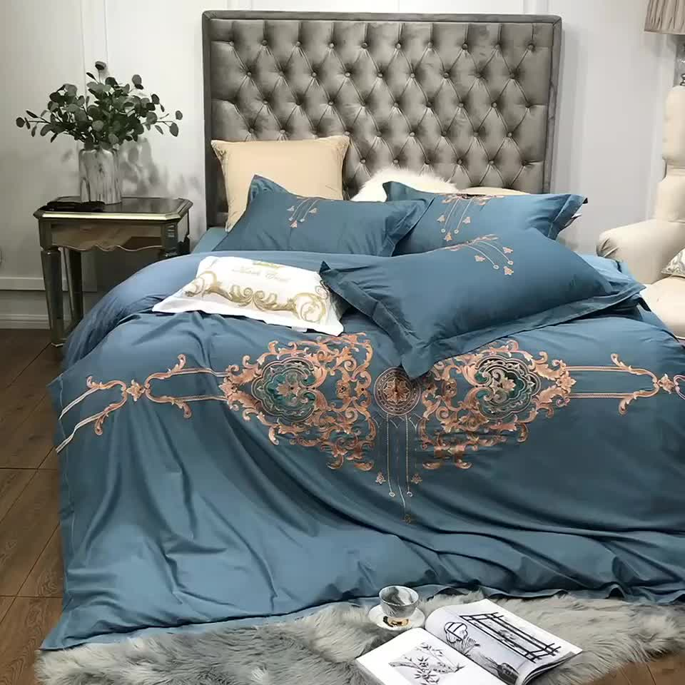 Wholesale king size 4/6/7 piece satin bedding comforter sets blue duvet cover luxury embroidery 100% cotton