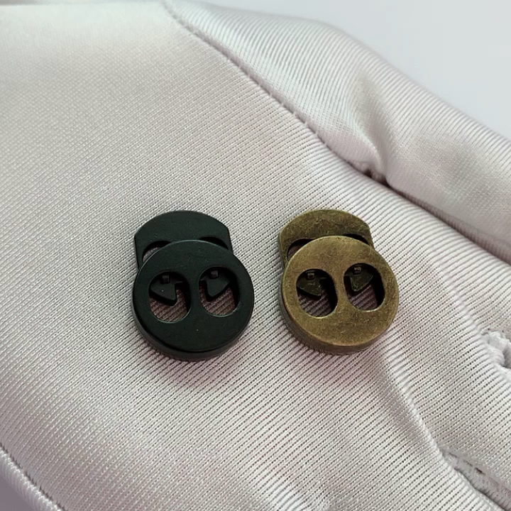 Custom design elastic cord ends alloy metal stoppers cord adjuster for sport pants
