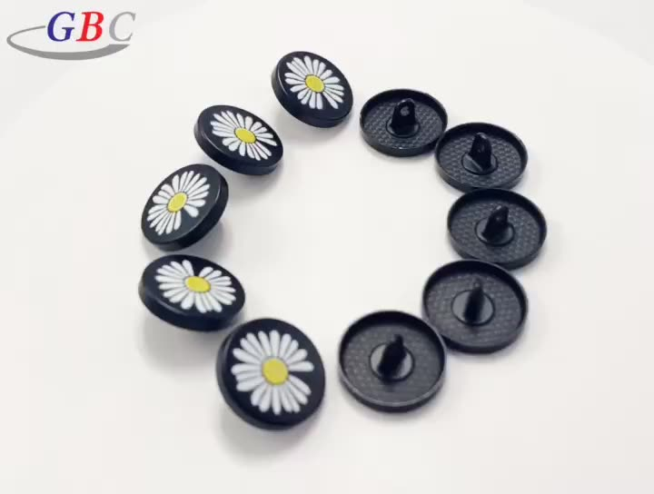 New design 17mm daisy flower logo custom sewing button for clothes